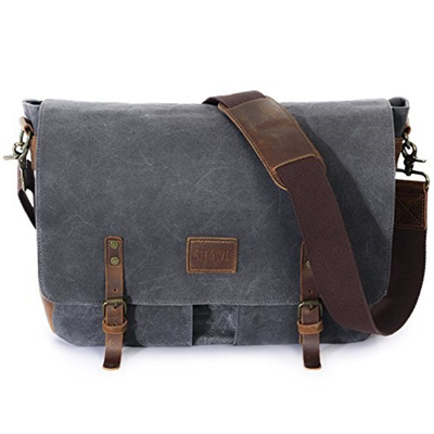 f75fefe2c9 Lifewit 14-15.6 inch Laptop Messenger Bag Vintage Genuine Leather Canvas  Briefcase Computer Satchel