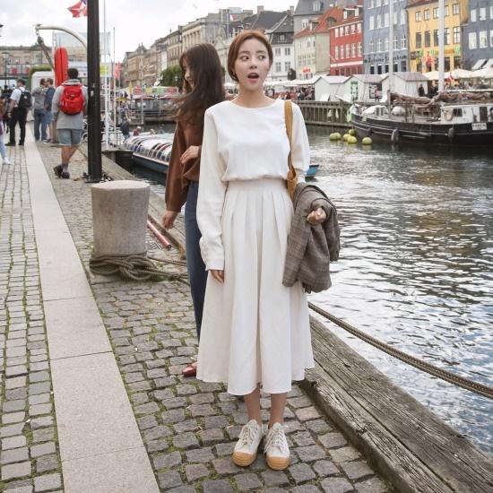 チェリーココpurity cream、opsC707MAOP7ロングワンピースシャーリング腰のライン長い腕 面ワンピース/ 韓国ファッション