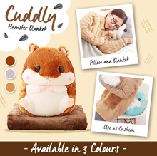 3-In-1 Cuddly Hamster Blanket / Cushion Bolster Pillow / Match your Bedsheet Mattress / Toy Gift Xma