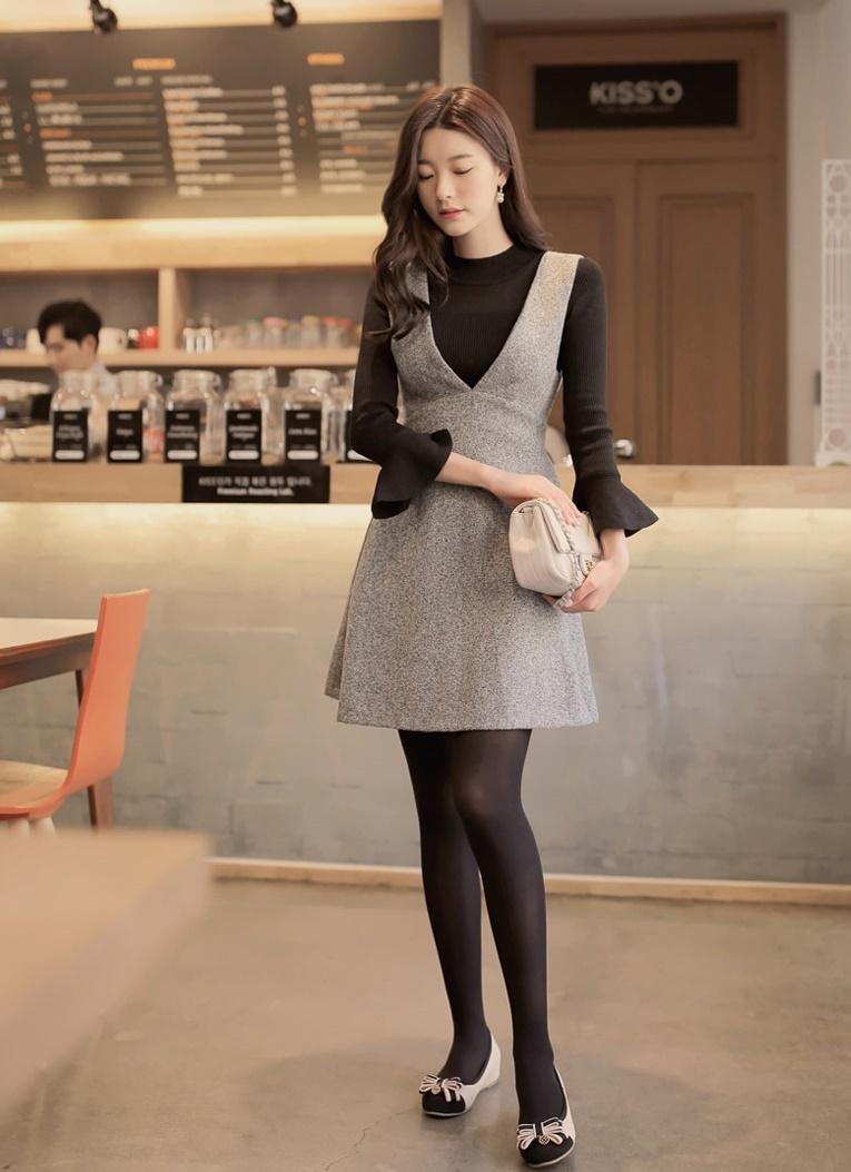 ドレス ワンピース 大きいサイズ 小さいサイズ フリル グレー ベリーVラインワンピース