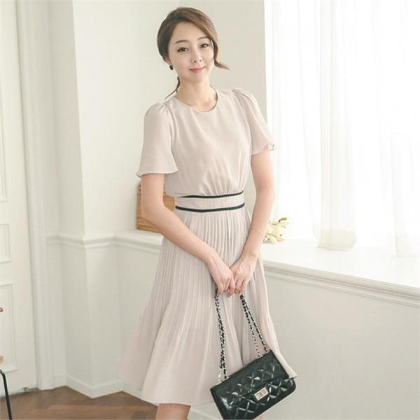 DRI342配色ライン・プリーツ半袖ワンピースnew Hライン/スリムフィットワンピース/ワンピース/韓国ファッション