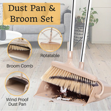 Rotatable Broom and Wind Proof Dust Pan with Broom Comb to clean your Broom Rotatable Scraper