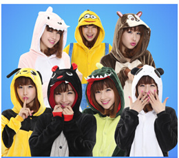 Autumn and winter thick large size cartoon conjoined pajamas flannel winter men and women lovers lov
