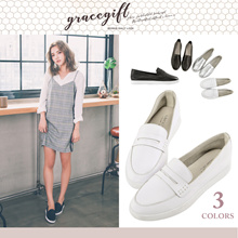 Gracegift-Classic Leather Soft Loafer Slip-Ons/Women/Ladies/Girls Shoes/Taiwan Fashion