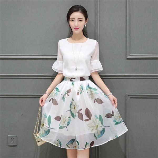 レディースワンピース 韓国無地 スリム 韓国のファッション  二点セット 半袖シフォンワンピース 上品 ロングスカート  ハイウエストワンピース  プリントワンピース  ハイセンス 着心地いい おしゃ
