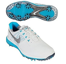 Nike NIKE GOLF golf shoes 22.5cm (wide type) womens Luna control WMNS LUNAR CONTROL 704677 white / cool gray / blue lagoon country
