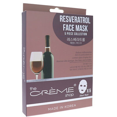 Resveratrol Face Sheet Mask - 1 Count by The Creme Shop (pack of 6) Thursday Plantation - Tea Tree Face Wipes for Acne (25 Wipes)