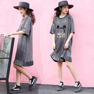 ミノ日係館韓国のファッションT荷葉、スカートかわいいミッキーのワンピース