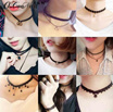 ✿ BUY 5 FREE SHIPPING ✿ Korea Choker Necklaces Women Black Velvet Suede Leather Chain