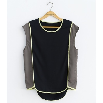 24. color accent blouse - khaki tone - free