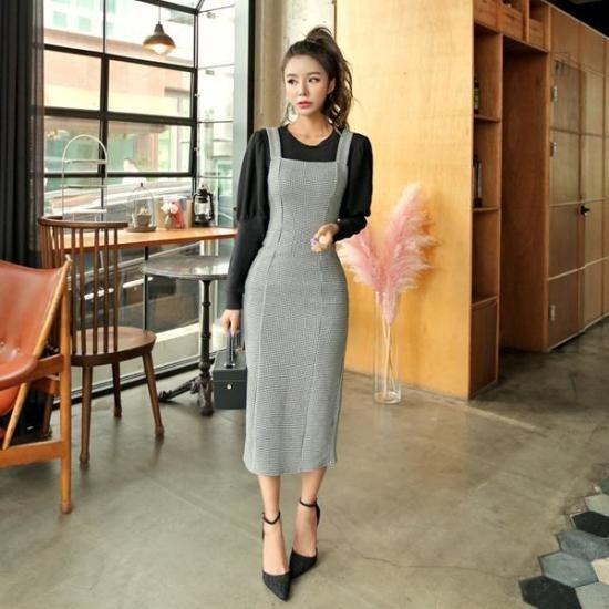 プラン第二行き来するようにプラン第二ハウンドロングワンピース プリントのワンピース/ 韓国ファッション