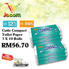 Cutie Compact 3 X 10 Rolls Toilet Paper Tissue Paper [1+1] [KL  SL Only] TOTAL 6 PACK