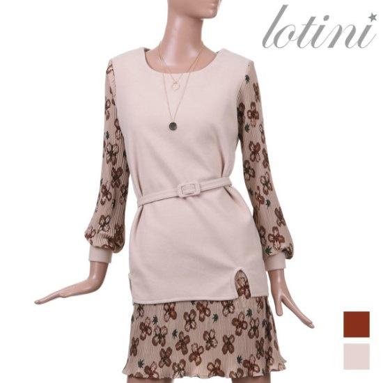 ロティニLOTINIクローバーしわ配色ワンピースLTKOP05 面ワンピース/ 韓国ファッション