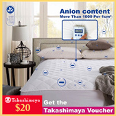 FREE $20 Takashimaya voucher | Negative Ion Mattress Topper / ProtectorNow