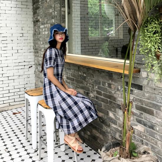 欲しいかチェックレディーワンピース 綿ワンピース/ 韓国ファッション