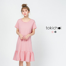 TOKICHOI - Striped Frill Hem Dress-171913