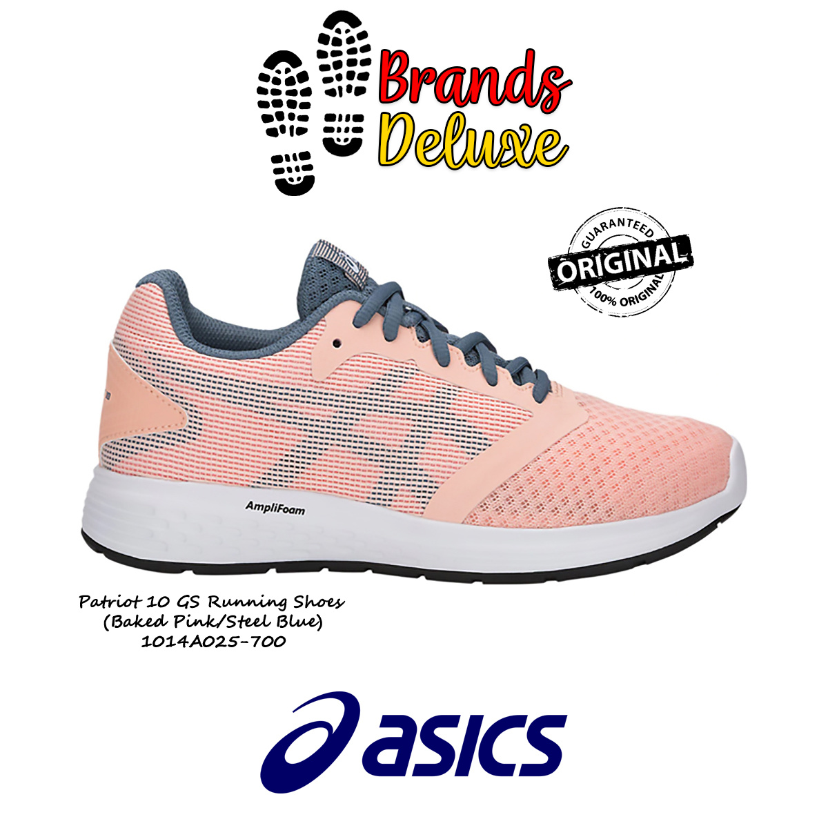 b732958839 ASICSAsics Patriot 10 GS Running Shoes for Juniors (Baked Pink/Steel Blue)