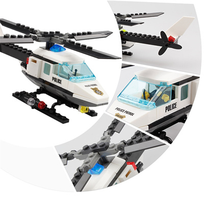 authentic KAZI Police Model Building Blocks Set Helicopter Boat Ship Rescue  Car Educational Bricks B