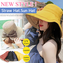 【Local Shipping 】Buy 3 Free Shipping!Lady Foldable Straw Hat.Sun Hat/Beach Hat/UV Protect/Fedora Hat