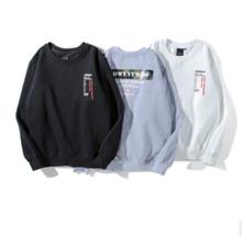 Jalan hip-hop gugur dan musim dingin pakaian ditambah beludru katun sweter pria dan wanita dari huruf dicetak bulat leher jaket kamuflase Siswa