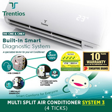 TRENTIOS System 3 (4 ticks) Aircon [T3PS21/SIN 21000BTU / T4PS28/SIN 28000BTU] Multi Split Combo
