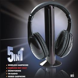 5 in 1 Headset Wireless Headphones Cordless RF Mic For PC TV DVD CD MP3 MP4
