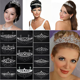 Silver Coloured Alloy Wedding Bridal Crystal Tiara