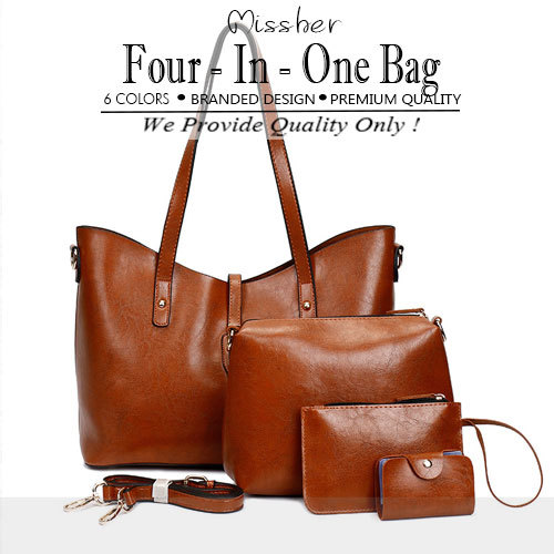 ?FREE QXPRESS?Premium Quality PU Leather Woman Four In One Lady Bag Shoulder Bag LB-CH07 Deals for only S$99.9 instead of S$0