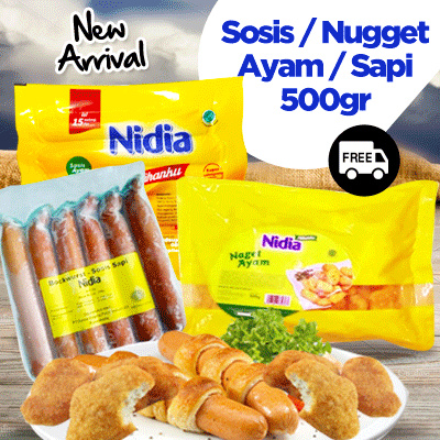( FREE SHIPPING JABODETABEK ) ANEKA PRODUK NIDIA OLAHAN SOSIS/NUGET SAPI/AYAM 500gr Deals for only Rp25.750 instead of Rp25.750