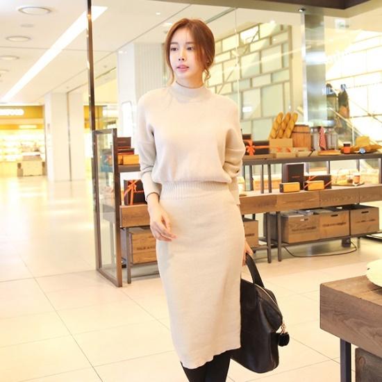 トムエンレビッカイエンOPSロングワンピースニット・ワンピースミディワンピーススリムワンピース ニット・ワンピース/ 韓国ファッション