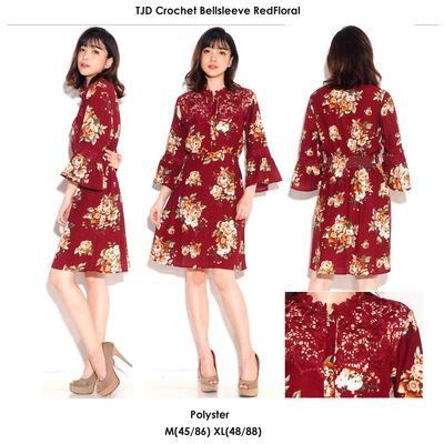 TJD Crochet Bellsleeve Red Floral