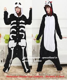 Instock: Skeleton Onesie cum Costume*Devil Onesie Costume*Cosplay*2016 Halloween Costume*Theme Party*