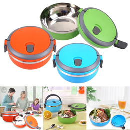 Portable Stainless Steel Bento Lunchbox for Kids Thermal Cover Container Food Box 3 Colors LunchBox