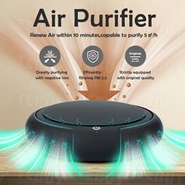 Air Purifier + HEPA Filter Odor Eliminator Air Freshner for Car Room Remove Smoke Bacteria Killer