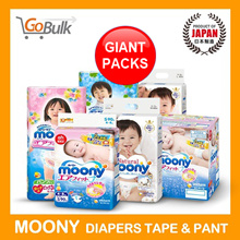 "*Free Delivery above $69.90 *Giant Packs*""Moony*Japan Domestic Version*Tape n pant NB - XL"