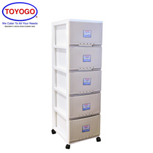 Toyogo Plastic Storage Cabinet / Drawer With Wheels (5 Tier) (607-5)