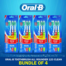 [BUNDLE OF 4] [ORAL B] Oral b All Rounder 1 2 3 Toothbrushes Soft/Medium Bundle Set