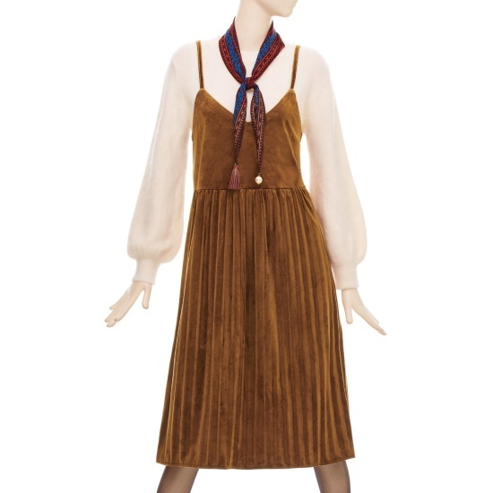 フォーカスベルベット・プリーツビュスチェワンピースBFGW1OP4470 面ワンピース/ 韓国ファッション