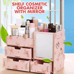 Rak Kosmetik Bahan Kayu CERMIN Shelf Cosmetic Material Wooden Mirror SJ0065 K001