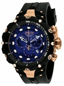 Invicta Mens 1525 Reserve Venom II Chronograph Blue Dial Black Polyurethane  Watch a1a879991e