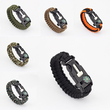 Hot Sale 5 in 1 Outdoor Survival Gear Escape Paracord Bracelet Whistle Compass