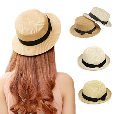 94dffb4c Summer Panama Hats for Women Straw Hat Ribbon Bow Round/Flat Top Beach Hat  bonnet