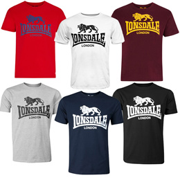 fe0b631514a82 Lonsdale Classic Logo Lion T-Shirt Black Grey Blue Oxblood White Red  Regular Fit