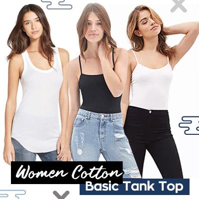 Women Cotton Basic Tank Top / Tanktop Polos Wanita Bahan Katun / Singlet Tali Kecil Tali Besar Deals for only Rp27.000 instead of Rp27.000