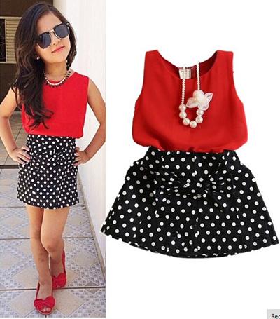 acf62c13e08 2016 New Summer Fashion Kids Girls Clothes Sleeveless Chiffon Tops Vest  Polka Dot Bowknot Skirt Outf