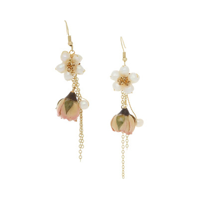 PARISIENNE Pink Rose with pearl Botanical Earrings