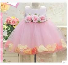 BAP.069 gaun pesta anak perempuan model rok pendek berbunga warna soft pink / flower girl dress