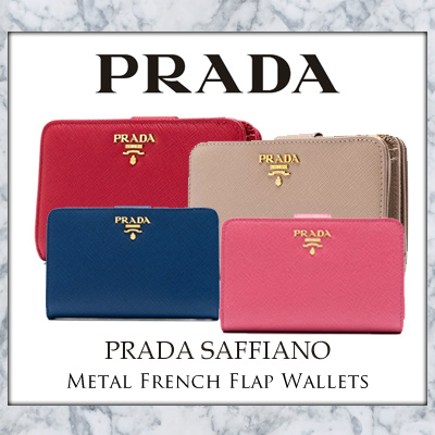 b52360f8c34a7f Prada Saffiano Metal French Flap Wallet (Available in 4 Colours: Bluette /  Fuoco /