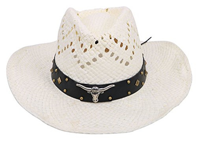 [D DIANA DICKSON] Classic Western Structured Curved Brim Straw Cowboy Hat