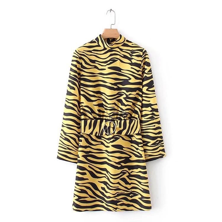 2017秋冬服新型、欧米では長め虎プリント後の露背係のワンピース